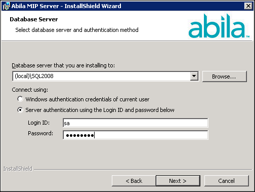 Chapter 5: Existing User - Server Install 7. Click Next. Accept the default MIP Share destination folder (recommended), or use the Change button to navigate to a different location. 8. Click Next. The system displays the database server where the system was installed.
