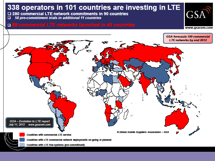 LTE market status 89 operators have commercially launched LTE Nokia Siemens Networks is LTE supplier to 29 out of these, including 4 TD-LTE networks 150 commercial LTE networks in 53 countries