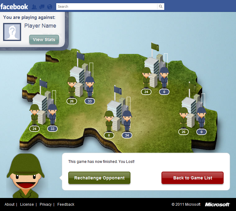 Figure 1: Steps of the Project Waterloo Facebook application. From left to right: (1) The user chooses a game with either a random hidden opponent or a visible one.