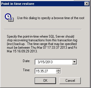 Data Recovery The Point-in-time restore dialog box appears, as shown in the following figure. Figure 44 Point-in-Time Restore dialog box 2.