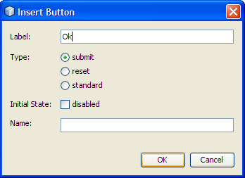 Adding a Submit Button Drag a Button item to a point just before the </form> tag.