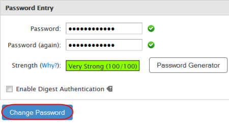 You can also generate a strong password using the Password Generator button. A confirmation page will appear to state that the password has been changed.