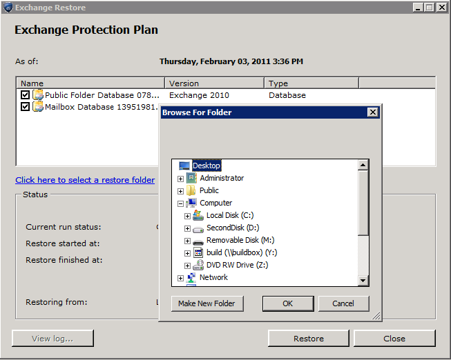 2. At the Exchange Restore screen, select the Database to restore, and select a restore folder. The software restores all required Exchange files in a subfolder named with the plan name and date.