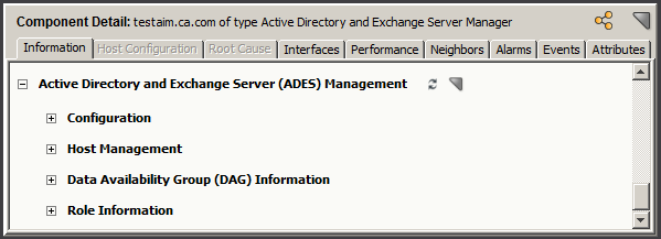 Information Subviews Information about hosts that are available for management and that the ADES AIM is actually managing. You can also control which hosts to manage by the ADES AIM.