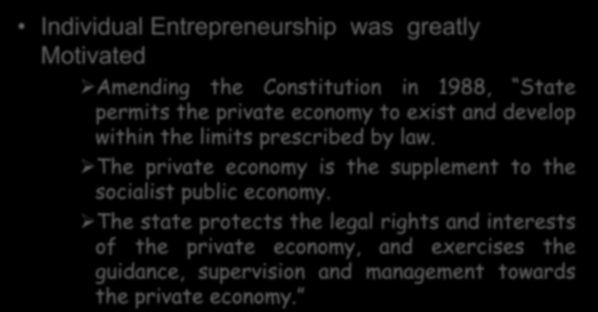 Individual Entrepreneurship was greatly Motivated Amending the Constitution in 1988, State permits the private economy to exist and develop within the limits prescribed by law.
