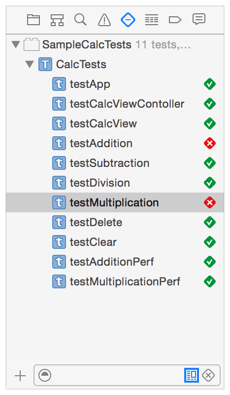 Quick Start Introducing the Test Navigator or any individual test. Tests return pass or fail results to Xcode.