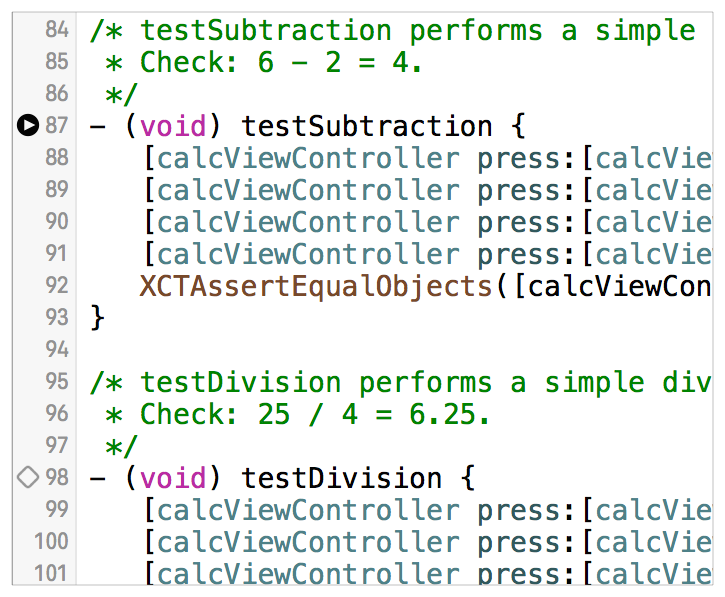 Running Tests and Viewing Results Commands for Running Tests Note: The same indicator appears next to the @implementation for the class as well, allowing you to run all of the tests in the class.