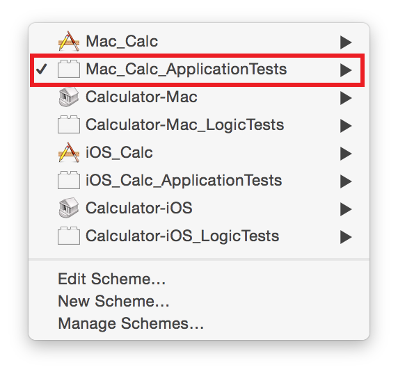 Appendix B: Transitioning from OCUnit to XCTest Converting from OCUnit to XCTest For example, in this older workspace there are calculator projects for both OS X and ios, and tests based