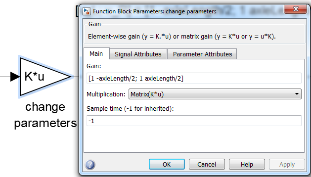 The first block named 'change parameters' performs the matrix multiplication operation we saw in the equations above. To look at the block properties, double click on the block.