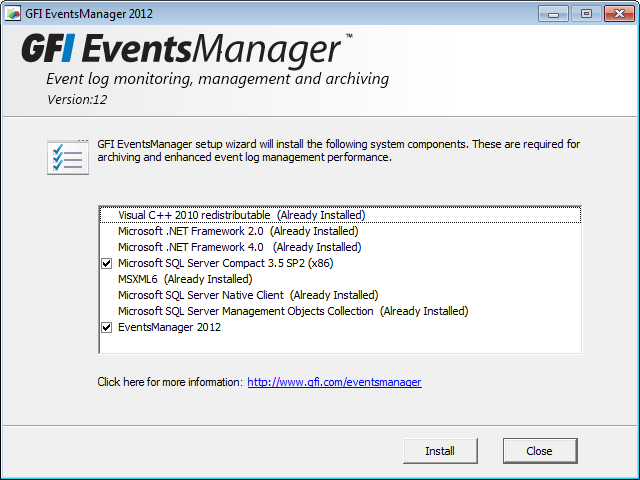 3.4 Upgrading from a previous version Upgrading from versions older than GFI EventsManager 2011 is not fully supported. Some settings may be lost due to the underlying technology changes. 3.4.1 Methods of upgrading Table 7 Upgrade methods METHOD Automatic DESCRIPTION Launch the new setup and complete the wizard to upgrade and retain data.