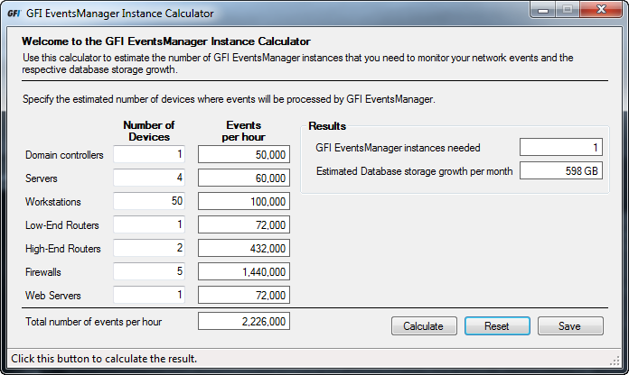 10 Appendix 1: Instance Calculator The instance calculator to enables you to estimate the number of GFI EventsManager instances required on your network.