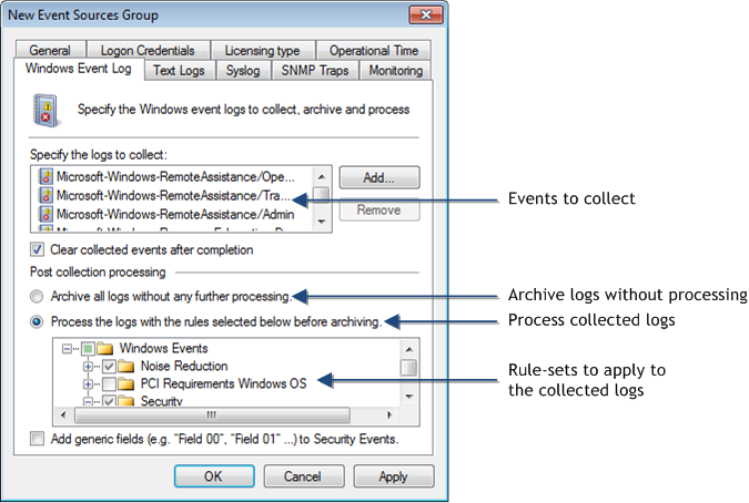 Screenshot 69: Computer group properties: Configuring Windows Event Logs parameters To configure Windows Event Log collection and processing
