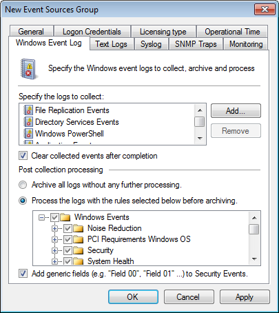 Screenshot 71: Configuring Windows Event Log Processing parameters 4. Select Clear collected events after completion to clear the collected events from the respective event source. 5.