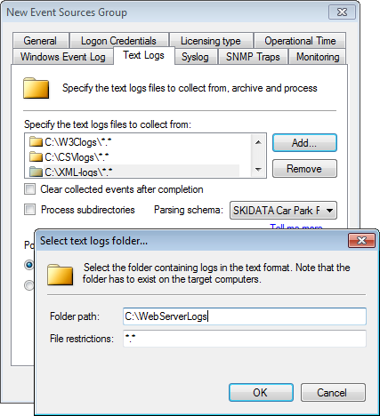 Screenshot 73: Adding folders containing Text Logs 2. Click Text Logs tab > Add... to add folder paths containing Text Logs. 3. From the Select text logs folder.