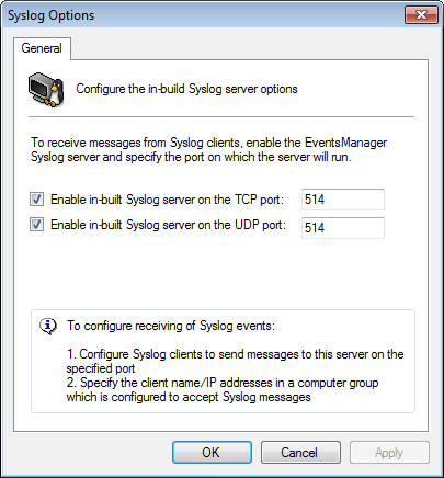 Screenshot 77: Syslog server options 4. Select Enable in-built Syslog server on TCP port: and specify the TCP port on which GFI EventsManager will receive/listen for Syslog messages. 5.