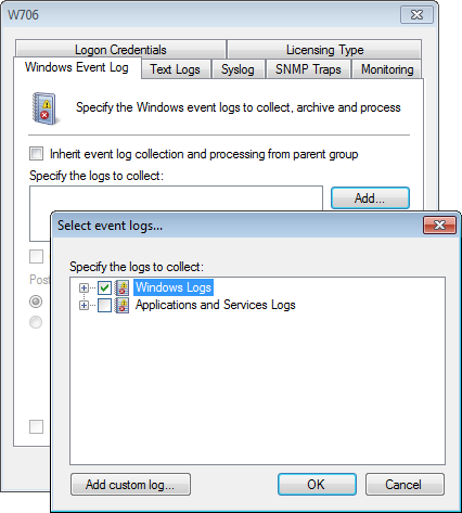 3. Right-click on the GFI LanGuard event source and select Properties. Screenshot 85: Add Windows Application logs 4.