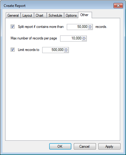 Screenshot 115: Record limit settings 13. Click Other tab to configure report record limits.