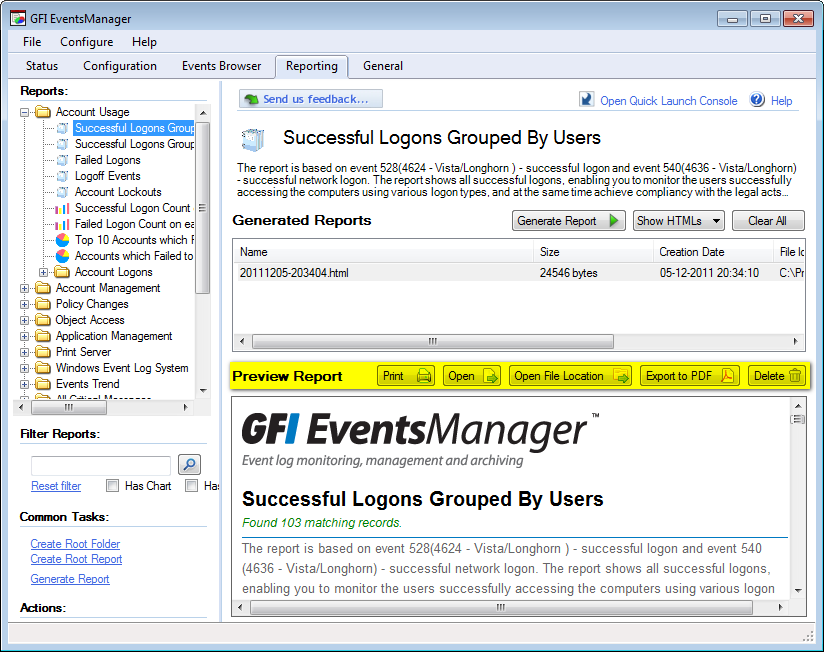 8.7 Analyzing reports Screenshot 129: Analyzing reports The reporting system of GFI EventsManager comes with dedicated tools to help you analyze and export reports.
