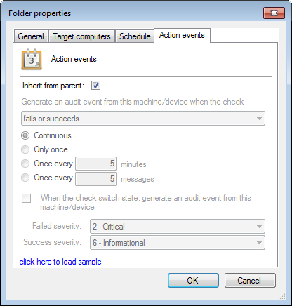 Screenshot 153: Folder properties - Action events tab Note Regardless of whether Active Monitoring fails or succeeds, the computer that it checks generates an event log.