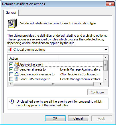 Screenshot 164: Default Classification Actions dialog 2. From the drop-down menu, select the event classification to be configured. 3.