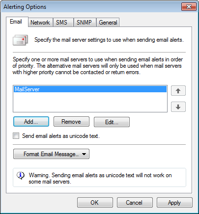 11.2.1 Email alerts Screenshot 166: Configuring Email options To configure email alerts: 1. From the Alerting Options dialog, click Email tab. 2.