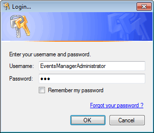 Screenshot 190: Login credentials prompt If a password is forgotten or lost: 1. Key in your username. 2. Click Forgot your password? link.