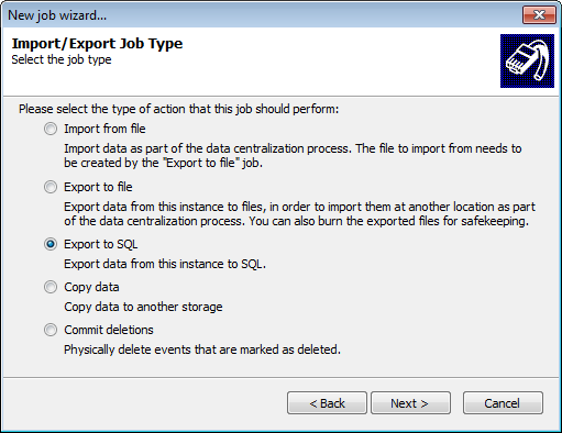 3. Click Next at the wizard welcome screen. Screenshot 218: Creating Import\Export jobs 4.