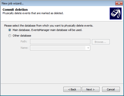 Screenshot 231: Select database to delete records from 6. Select the database to delete records from. Click Next. 7.