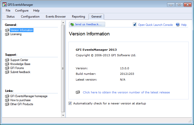 Screenshot 264: Version Information screen 2. View version information details from the right pane. 3.