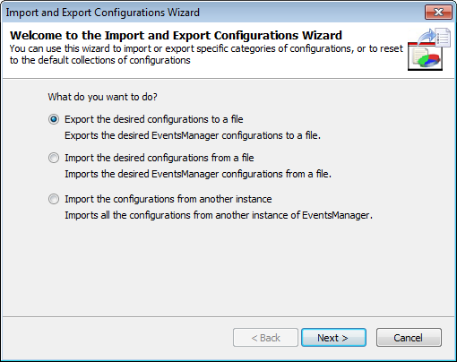 Exporting configurations to a file Importing configurations from a file Importing configurations from another instance 15.