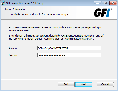 Screenshot 26: Remote logon credentials for event log monitoring 10. Key in the logon credentials that GFI EventsManager uses to log onto remote computers.