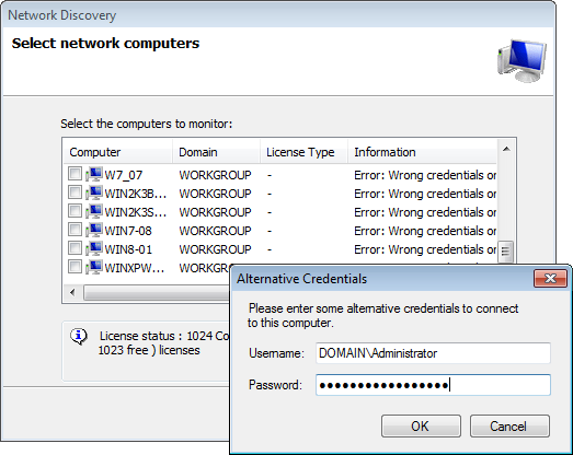 Screenshot 37: Search network progress Note If GFI EventsManager detects computers that cannot be logged onto using the supplied credentials, it enables you to specify alternate logon credentials for