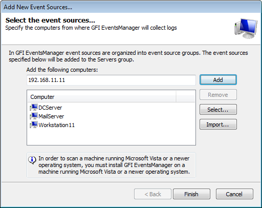 4 Managing Event Sources This chapter provides you with information about adding and managing your event sources.