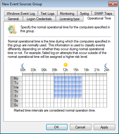2. To configure settings of a: Computer group - right-click on the computer group to configure, and select Properties Single event source - right-click on the source to configure, and select