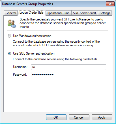 Option Description Collects logs from the database servers included in this group Description (Optional) Key in a description. Enable option to collect database events from all servers in this group.