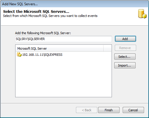 Screenshot 55: Add new Microsoft SQL server 2. Key in the server name or IP and click Add.