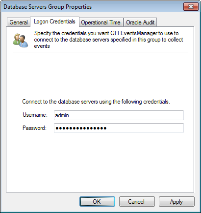 Screenshot 61: Oracle Database group - Logon Credentials tab 5.