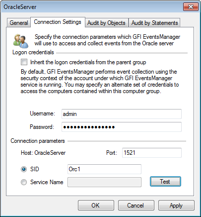 Screenshot 66: Oracle Server properties - Connection Settings tab 5.