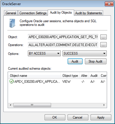 Screenshot 67: Oracle Server properties - Audit by Objects tab 6.