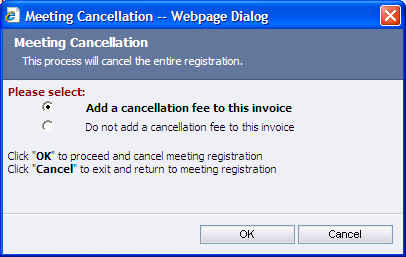 CANCELLATION FEES In either of the Transaction Guides, you learned to cancel a meeting