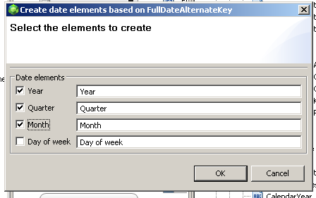 won t hurt. (right-click each and select delete) 2. From the Data Sources pane drag DimTime > FullDateAlternateKey over to the AdventureWorksAnalysis > Dimensions Elements folder again. 3.