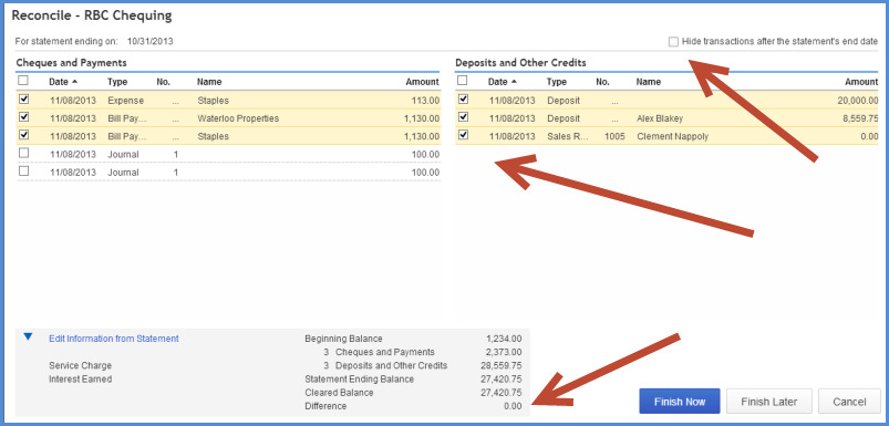 7. Select the transactions that have cleared the bank account on the bank statement.