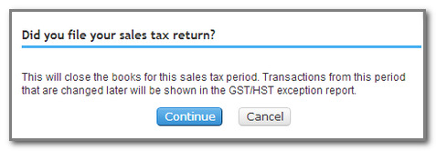 5. The return window will match the sales tax report you just created.