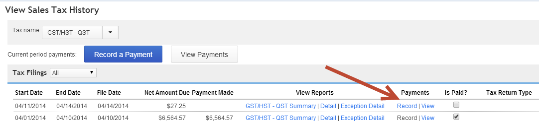 NOTE: QuickBooks Online marks each of these transactions as filed.