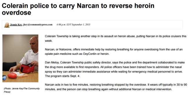 The County Communications Center received 413 calls to report suspected heroin overdoses in 2014 Heroin Coalition Action Steps: Increasing Law Enforcement Access to Narcan The Sheriff s Department