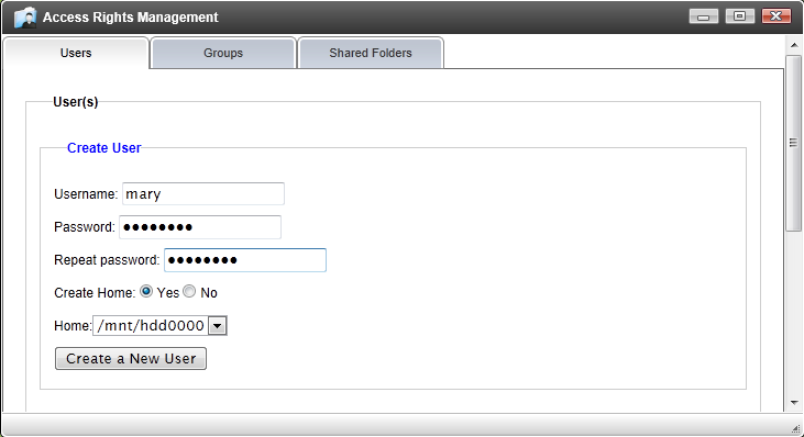 Access Rights Management Users: This page allows the administrator to add/delete/manage users.