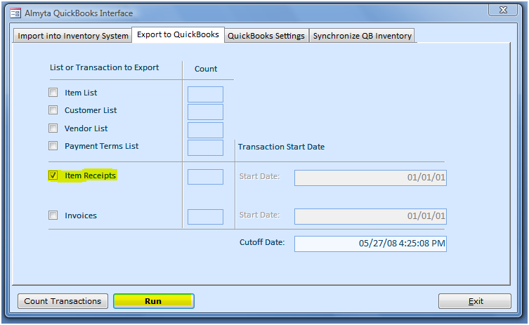 Export Receipts and Invoices to QuickBooks The interface allows a direct transfer of receipts and customer invoices to QuickBooks. Switch to the Export to QuickBooks tab.