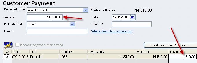 In the middle of the screen, a list of invoices will appear. Select the invoice that is being paid.