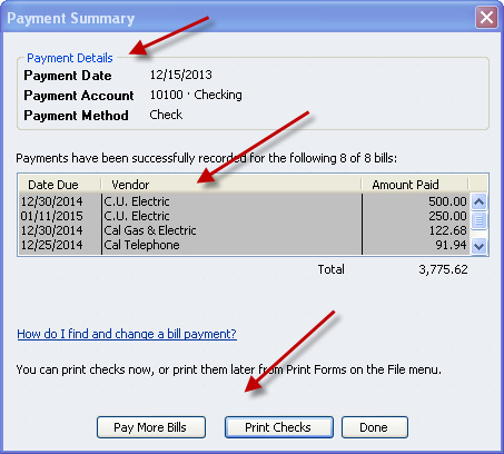 You can either print out the checks or return to the pay bills screen by selecting the PAY MORE BILLS option or the DONE option if you have finished.