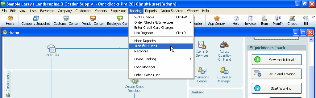 Transfer of Funds To transfer funds from a checking account into a savings, payroll, or any other type of bank account: 1. From the Banking Menu located on the top tool bar, select TRANSFER OF FUNDS.